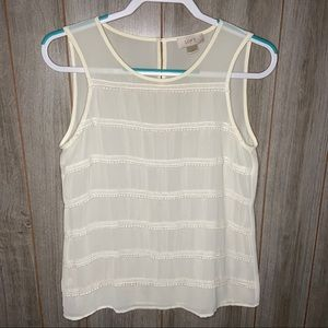 LOFT | Sheer Cream Tank Top | XS